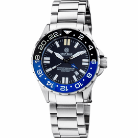 DAYNIGHT RESCUE GMT T-100 SWISS AUTOMATIC ETA 2893-2 BLACK/BLUE BEZEL- BLACK DIAL WHITE HANDS