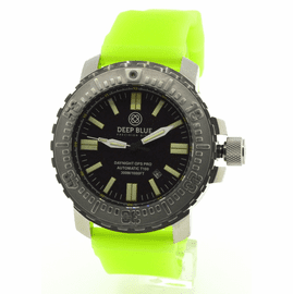 DAYNIGHT T100 OPS PRO MILITARY  TRITIUM FLAT TUBES -48MM Stainless On Green luminous Silicon