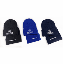 DEEP BLUE ACRYLIC SKI CAP FOLD OVER DESIGN