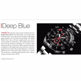 """Deep Blue in Watchtime Magazine """"Holiday Gift Guide"""" 2013"""