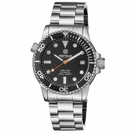DIVER 1000 AUTOMATIC DIVER BLACK BEZEL -BLACK DIAL-ORANGE SECOND HAND BRACELET