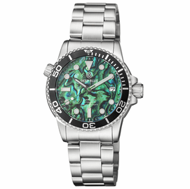 DIVER 1000 AUTOMATIC DIVER BLACK BEZEL – GREEN ABALONE SHELL DIAL BRACELET