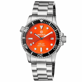 DIVER 1000 AUTOMATIC DIVER BLACK BEZEL �ORANGE SUNRAY DIAL BRACELET