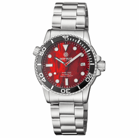 DIVER 1000 AUTOMATIC DIVER BLACK BEZEL -  RED ABALONE SHELL DIAL BRACELET