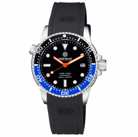 DIVER 1000 II 40MM AUTOMATIC DIVER BLACK/BLUE CERAMIC BEZEL -BLACK SUNRAY DIAL ORANGE HANDS