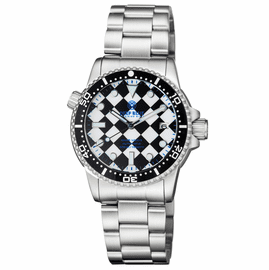 DIVER 1000 II 40MM AUTOMATIC DIVER BLACK CERAMIC BEZEL – BLACK / WHITE CHECKER  DIAL BLUE SECOND HAND BRACELET
