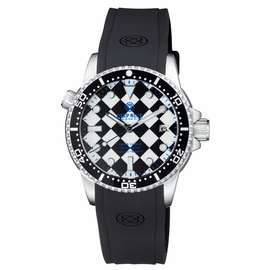 DIVER 1000 II 40MM AUTOMATIC DIVER BLACK CERAMIC BEZEL – BLACK / WHITE CHECKER  DIAL BLUE SECOND HAND STRAP