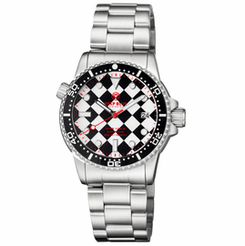 DIVER 1000 II 40MM AUTOMATIC DIVER BLACK CERAMIC BEZEL � BLACK / WHITE CHECKER  DIAL RED SECOND HAND BRACELET
