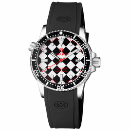 DIVER 1000 II 40MM AUTOMATIC DIVER BLACK CERAMIC BEZEL � BLACK / WHITE CHECKER DIAL RED SECOND HAND STRAP