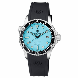 DIVER 1000 II 40MM AUTOMATIC DIVER BLACK CERAMIC BEZEL � ICE  BLUE DIAL STRAP