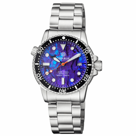 DIVER 1000 II 40MM AUTOMATIC DIVER BLACK CERAMIC BEZEL PURPLE ABALONE DIAL