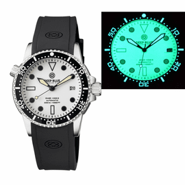 DIVER 1000 II 40MM AUTOMATIC DIVER BLACK CERAMIC BEZEL WHITE FULL LUME DIAL STRAP