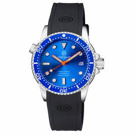 DIVER 1000 II 40MM AUTOMATIC DIVER BLUE CERAMIC BEZEL -LIGHT BLUE SUNRAY DIAL ORANGE  HANDS