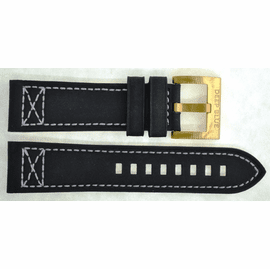 GENUINE LEATHER BLACK X STITCH  24/22 BRASS BUCKLE