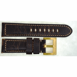 GENUINE LEATHER PADDED VINTAGE DISTRESSED BROWN 24/22 ROSE BUCKLE