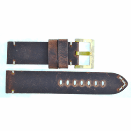 GENUINE LEATHER VINTAGE DARK BROWN 24/24 BRASS BUCKLE