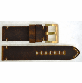 GENUINE LEATHER VINTAGE LIGHT BROWN 24/24 BRASS BUCKLE