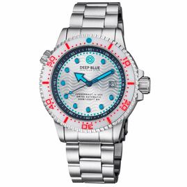JUGGERNAUT IV USA  SWISS AUTOMATIC � DIVER #2 WHITE/RED BEZEL -  WHITE DIAL BRACELET