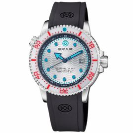 JUGGERNAUT IV USA  SWISS AUTOMATIC � DIVER #2 WHITE/RED BEZEL -  WHITE DIAL  STRAP