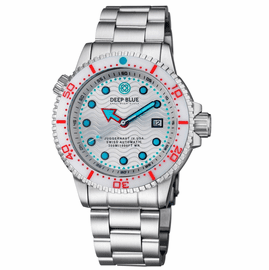 JUGGERNAUT IV USA  SWISS AUTOMATIC � DIVER #5 WHITE/RED BEZEL -  WHITE DIAL BRACELET