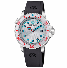 JUGGERNAUT IV USA  SWISS AUTOMATIC � DIVER #5 WHITE/RED BEZEL -  WHITE DIAL STRAP