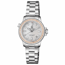 "LADIES DIVER ""LIZZY BLUE"" – CHAMPAGNE BAGUETTE CRYSTAL BEZEL - WHITE MOTHER OF PEARL DIAL"