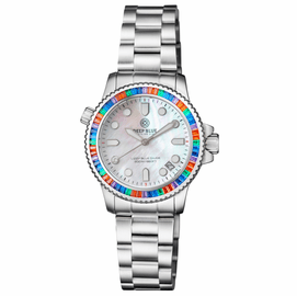 "LADIES DIVER ""LIZZY BLUE"" – MULTI RAINBOW COLOR  BAGUETTE CRYSTAL BEZEL - WHITE MOTHER OF PEARL DIAL"