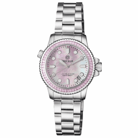 "LADIES DIVER ""LIZZY BLUE"" – PINK BAGUETTE CRYSTAL BEZEL - PINK MOTHER OF PEARL DIAL"