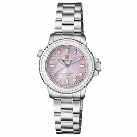 "LADIES DIVER ""LIZZY BLUE"" – WHITE BAGUETTE CRYSTAL BEZEL - PINK MOTHER OF PEARL DIAL"
