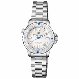 "LADIES DIVER ""LIZZY BLUE"" – WHITE/BLUE BAGUETTE CRYSTAL BEZEL - WHITE MOTHER OF PEARL DIAL"