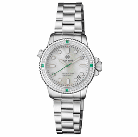 "LADIES DIVER ""LIZZY BLUE"" – WHITE/GREEN BAGUETTE CRYSTAL BEZEL - WHITE MOTHER OF PEARL DIAL"
