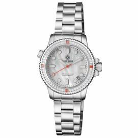 "LADIES DIVER ""LIZZY BLUE"" – WHITE/RED BAGUETTE CRYSTAL BEZEL - WHITE MOTHER OF PEARL DIAL"