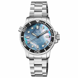 "LADIES ""LIZZY BLUE"" – DIVER CERAMIC BLACK/WHITE BEZEL – PLATINUM MOTHER OF PEARL DIAL"