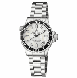 LADIES �LIZZY BLUE� � DIVER CERAMIC BLACK/WHITE BEZEL - WHITE MOTHER OF PEARL DIAL