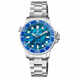 "LADIES ""LIZZY BLUE"" – DIVER CERAMIC BLUE/WHITE BEZEL – BLUE ABALONE SHELL DIAL"