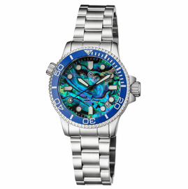 """LADIES """"LIZZY BLUE"""" – DIVER CERAMIC BLUE/WHITE BEZEL – BLUE GREEN ABALONE SHELL DIAL"""