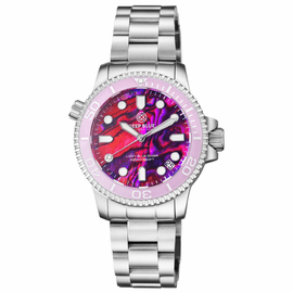 "LADIES ""LIZZY BLUE"" – DIVER CERAMIC PINK/WHITE  BEZEL – PINK ABALONE SHELL  DIAL"