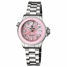 """LADIES """"LIZZY BLUE"""" – DIVER CERAMIC PINK/WHITE BEZEL – PINK MOTHER OF PEARL DIAL"""