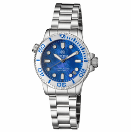LADIES �LIZZY BLUE� � DIVER CERAMIC WHITE/BLUE  BEZEL � BLUE MOTHER OF PEARL DIAL