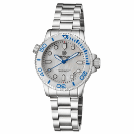 """LADIES """"LIZZY BLUE"""" – DIVER CERAMIC WHITE/BLUE  BEZEL – WHITE MOTHER OF PEARL DIAL"""