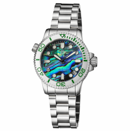 LADIES �LIZZY BLUE� � DIVER CERAMIC WHITE/GREEN BEZEL � ABALONE SHELL DIAL