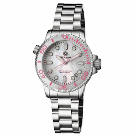 """LADIES """"LIZZY BLUE"""" – DIVER CERAMIC WHITE/PINK  BEZEL – WHITE MOTHER OF PEARL DIAL"""