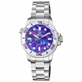 "LADIES ""LIZZY BLUE"" – DIVER CERAMIC WHITE/PURPLE  BEZEL – PURPLE ABALONE SHELL DIAL"