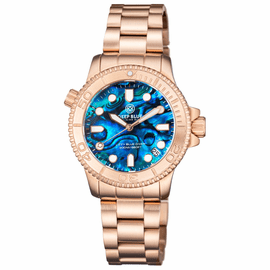 "LADIES ""LIZZY BLUE"" – DIVER ROSE GOLD CASE AND BEZEL – BLUE ABALONE SHELL DIAL"