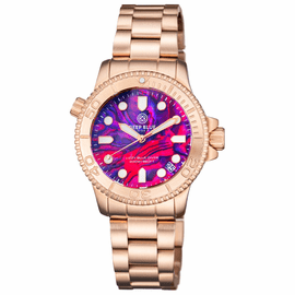 "LADIES ""LIZZY BLUE"" – DIVER ROSE GOLD CASE AND BEZEL – PINK ABALONE SHELL DIAL"