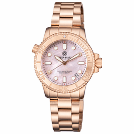 "LADIES ""LIZZY BLUE"" – DIVER ROSE GOLD CASE AND BEZEL – PINK MOTHER OF PEARL DIAL"