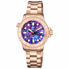 "LADIES ""LIZZY BLUE"" – DIVER ROSE GOLD CASE AND BEZEL – PURPLE ABALONE SHELL DIAL"