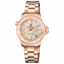 "LADIES ""LIZZY BLUE"" – DIVER ROSE GOLD CASE AND BEZEL – WHITE MOTHER OF PEARL DIAL"