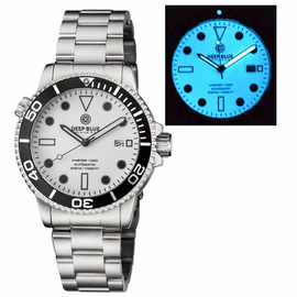 MASTER 1000 AUTOMATIC DIVER BLACK BEZEL - WHITE FULL LUMINOUS DIAL  BRACELET