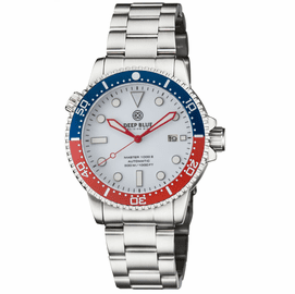 MASTER 1000 AUTOMATIC DIVER BLUE / RED CERAMIC BEZEL � WHITE  GLOSSY DIAL RED HANDS BRACELET